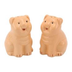 Ceramic Pink Pigs Salt & Pepper Shakers, Set of 2