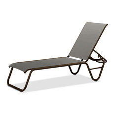 Gardenella Sling 4-Position Armless Chaise, Textured Kona, Alloy