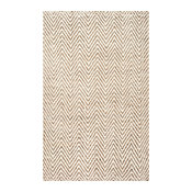 "Handwoven Natural Fibers Jute Jagged Chevron Rug, Bleached, 7'6""x9'6"""