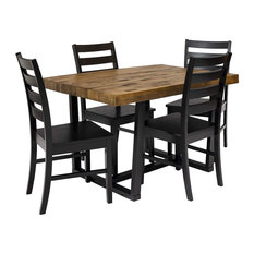 5 Pieces Dining Set Pine Construction With Natural Table And Black Chairs