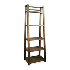 Contemporary Leaning Bookcase in Brushed Acacia Finish