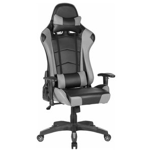 Modern Gaming Chair Upholstered, PU Leather With Head, Lumbar Pillow, Grey