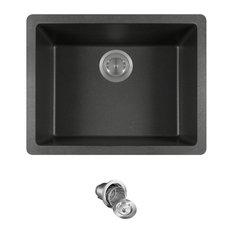 Dual-mount Single Bowl Quartz Kitchen Sink, Black, Basket Strainer