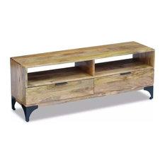 vidaXL TV Stand in Mango Wood, 120x35x45 cm
