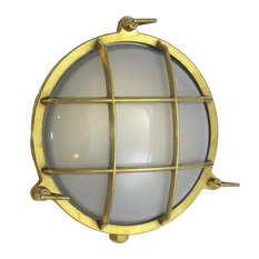 Nautical Round Cage Light (UL Listed for US J Box / Indoor/Outdoor/Solid Brass),