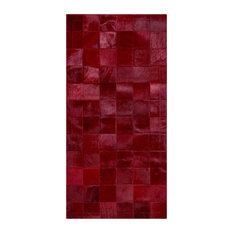 Red Squares Cowhide Rug, 200x300 cm