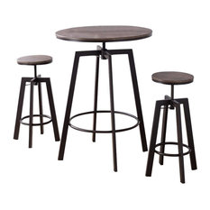 Syracuse 3 Piece Adjustable Height Dining Set, Brown, Wood Top & Metal Frame