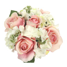 9 Stems Artificial Rose and Hydrangea Mixed Bouquet, Blush