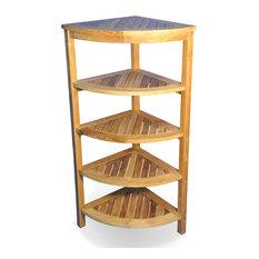 goldenteak solid teak corner shelf 5 tier bathroom cabinets and shelves