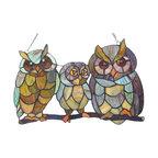 OLLIE, Tiffany-glass Owls Family Window Panel, 11x17