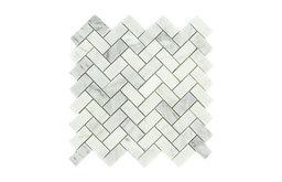 Herringbone Pattern Honed Tile, Arabescato Carrara, Sample