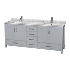 "80"" Double Bathroom Vanity Gray, White Marble Top, No Mirror"