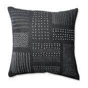 "Pillow Perfect Tribal Throw Pillow, Cream Gray, 16.5"", Dark Gray"