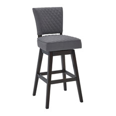 "Rin 26"" Wood Swivel Counter Stool Tufted, Espresso Finish, Gray Fabric"