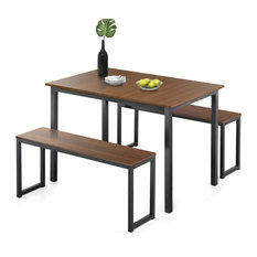 3 Piece Dining Set With 2 Benches Black Metal Frame With Hardwood Top And Seat