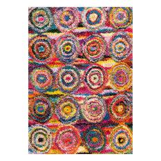 Nuloom Kindra Circles Shaggy Rug, Multi, 8'x10'