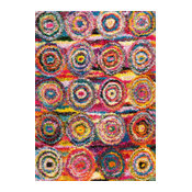 "Contemporary Abstract Circles Shag Rug, Multi, 5'3""x7'6"""