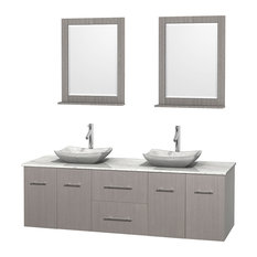 "Centra 72"" Gray Oak Double Vanity, White Carrera Marble Top, Carrera Marble Sink"