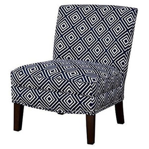 Gray Beige Greek Key Print Upholstered Wingback Accent