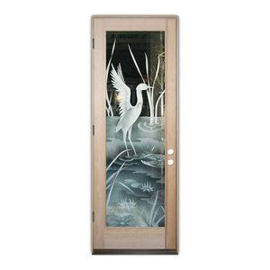 Glass Front Entry Door Sans Soucie Art Glass Crane II 2D