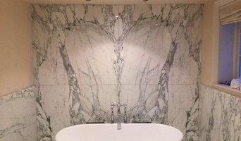 Arabescato Bathroom - bookmatch slabs