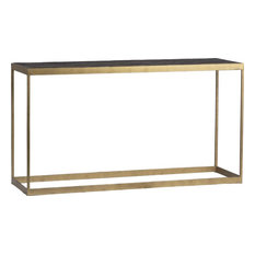 SKARA Console Antique Brass Dark Natural Elm Iron