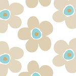Finesse Deco Partners - Lola Big Flower Sea Biscuit PVC Tablecloth, 140x140 cm - The non-woven, easy-to-use oilcloths in the Lola collection offer tables a fresh image. This 140-by-140-centimetre tablecloth features a large flower design in white and beige with splashes of turquoise for a touch of 1960s charm. Phthalate-free, it can be wiped down after use. Finesse is an experienced manufacturer and wholesaler dedicated to washable table linen, amongst other household goods.
