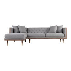 Kardiel Woodrow Neo Classic Sofa Sectional, Eames Gray/Walnut, Left Facing