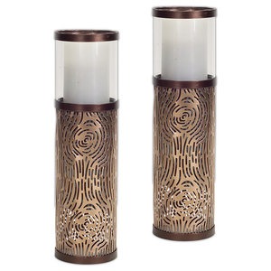 Candle Holder, Brown, Set Of 2