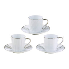 Set of 3 Lux Espresso Cups & Saucers by BIA, Silver