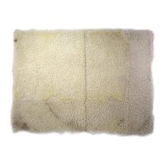 "Sheepskin Mat Fur Rug Rectangle Off-White 2'6""x3'5"""