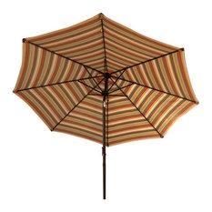 9' Market Umbrella Allum, Crank, and Tilt, Green Stripe