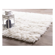 Pure Eco-Friendly Wool Flokati Shag Rug, White, 6'x9'