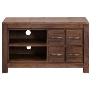 Mayan Walnut Television Cabinet with 4 Drawers and Shelf