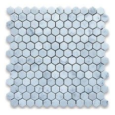 White Marble Hexagon Mosaic Tile, 12x12, Honed, Marble From Italy, 50 SqFt