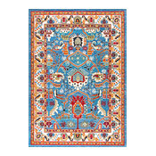 "Traditional Tribal Folktale Area Rug, Blue, 7'10""x11'"