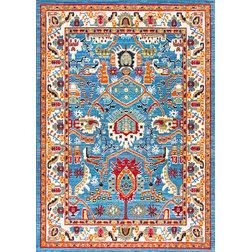 "Mediterranean Area Rugs Traditional Tribal Folktale Area Rug, Blue, 7'10""x11'"
