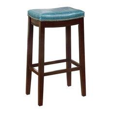 "Claridge Blue Bar Stool, 30"", Dark Brown"