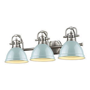 Duncan 3-Light Bath Vanity, Pewter With Seafoam Shade