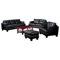 Leather Three Seat Sofa, Black