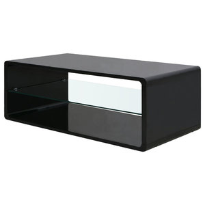 VidaXL Coffee Table With Glass Shelf, High Gloss Black