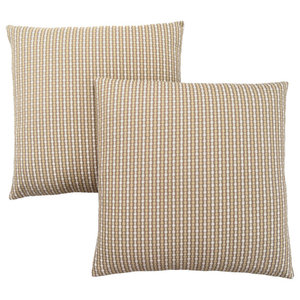 "18""x18"" Abstract Dot Pillow, Light/Dark Taupe, Set of 2"