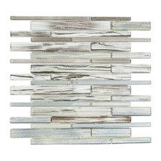 Midtown Sense Railroad Random Sized Glass Mosaic Tile, Gray/Brown
