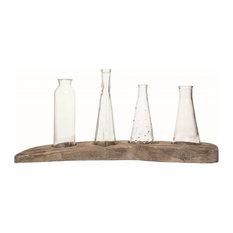 Four Bud Vases On Rustic Driftwood Display Base – Flower Vases