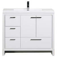 "Mod 42"" Modern Bathroom Vanity With Left Drawer, Gloss White"