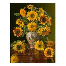 Tile Mural, Sunflowers in a Peacock Vase, 32.4x43.2 cm