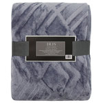 NorthPoint/Ardour - Textured Solid Color 50x60 Throw Blanket, Blue Gray - FEATURES: