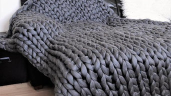 Giant stitch hand knitted blankets