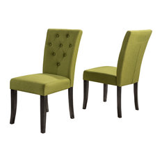GDFStudio - Nasima Green Fabric Dining Chairs, Set of 2 - Dining Chairs