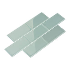 """3""""x6"""" Glass Subway Collection, Baby Blue"""